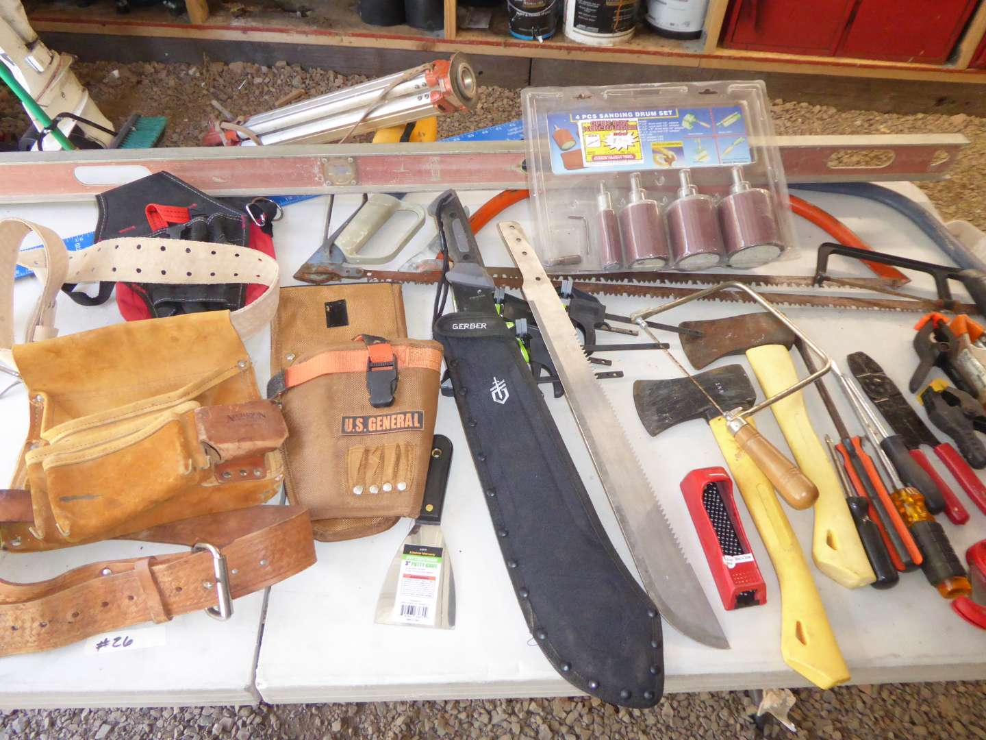 Lot # 26 - Tool Belts, Sanding Drums & Other Tools  (main image)