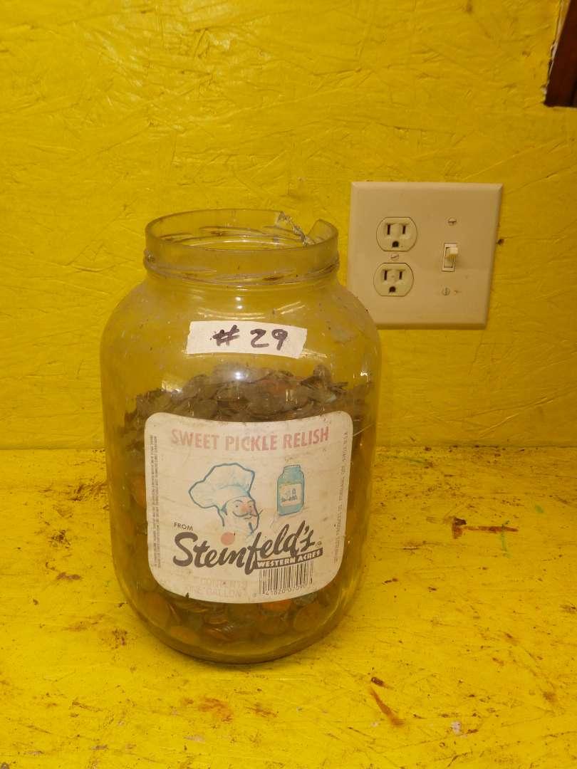 Lot # 29 - Pickle Jar Full Of Pennies  (main image)