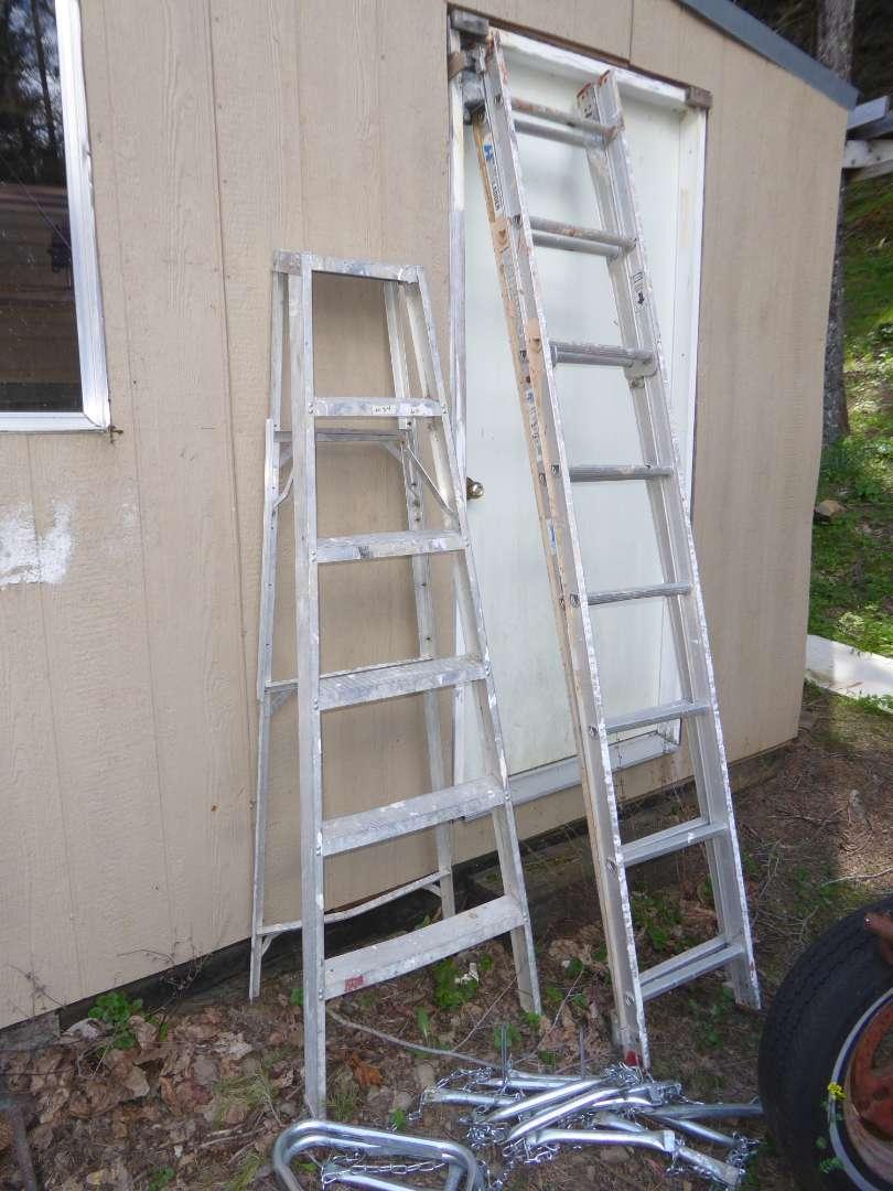 Lot # 34 - Extension Ladder, Step Ladder & Escape Ladder  (main image)