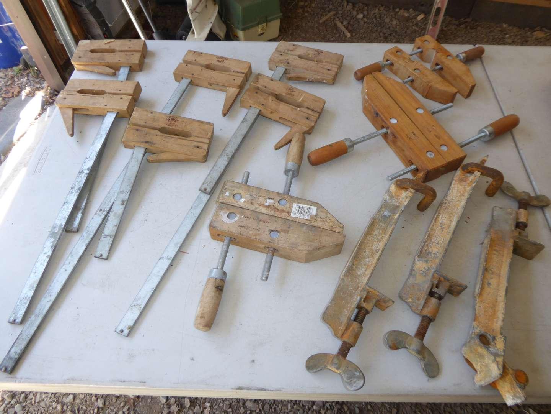 Lot # 41 - Vintage Metal & Wood Clamps  (main image)