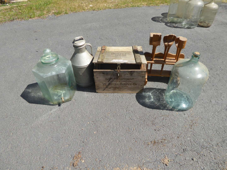 Lot # 184 - Glass Water Bottle, Wooden Burpee Box, Lidded Glass Dispenser & More  (main image)