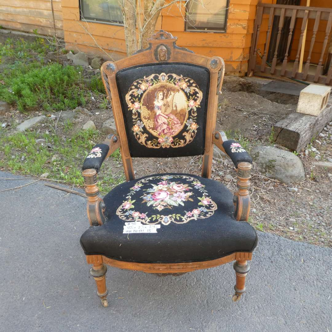 Lot # 50 -  Beautiful Antique Needlepoint Chair (Needs Some Restoration)  (main image)