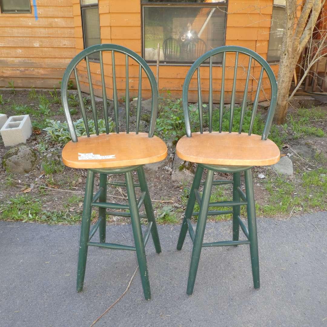 Lot # 51 - Two Wooden Swivel Bar Stools  (main image)
