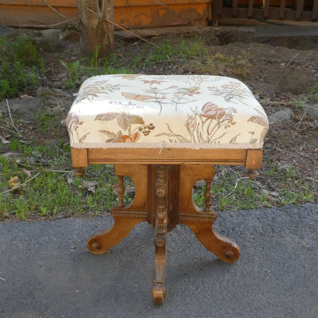 Lot # 52 - Adorable Antique Stool/ Bench (Marking on Bottom Chicago & New) (main image)