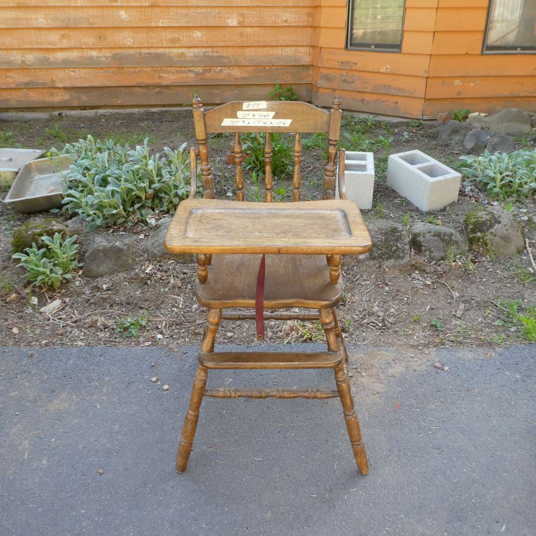 Lot # 55 - Wooden Vintage Baby High Chair (main image)