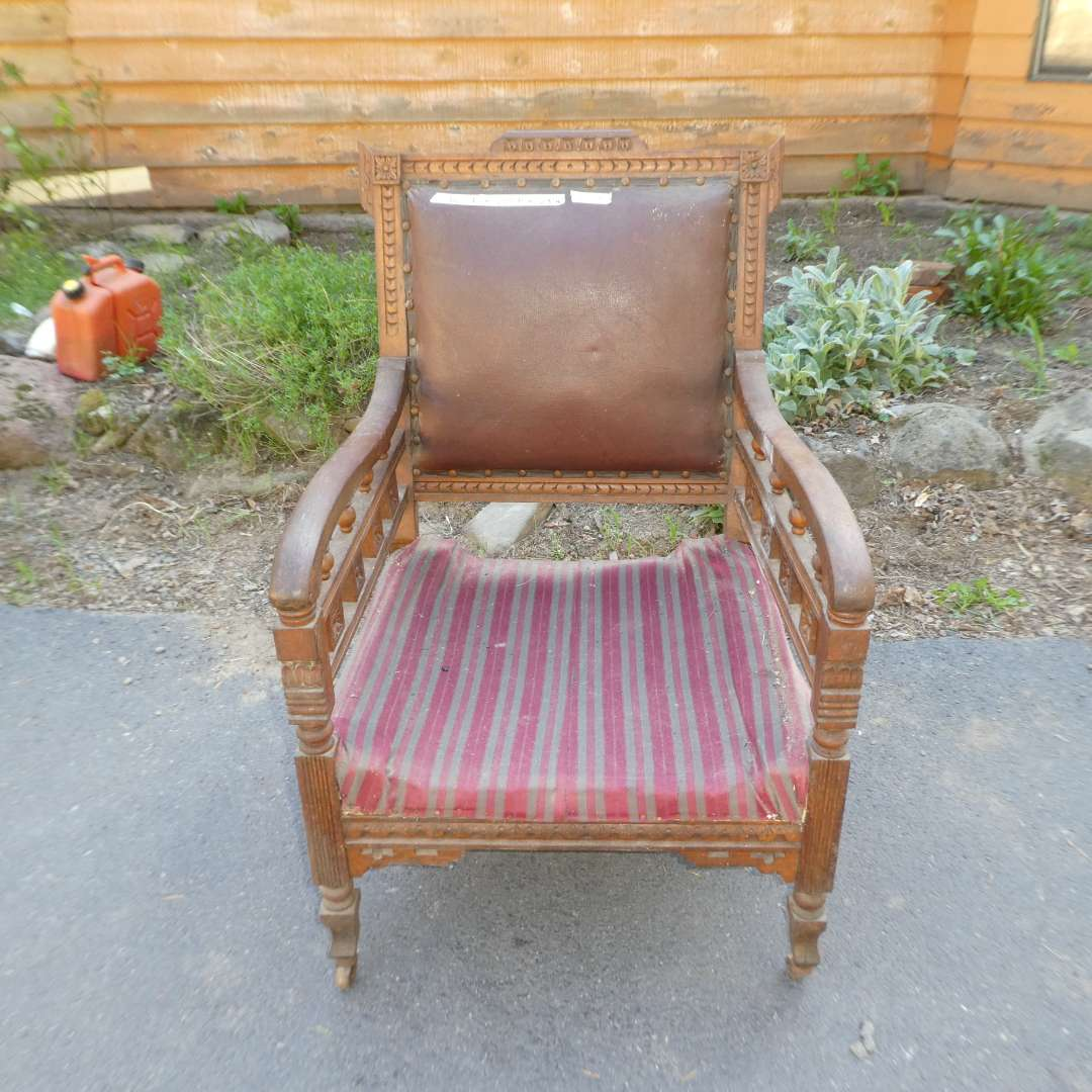 Lot # 56 - Antique Accent Chair on Casters  (main image)