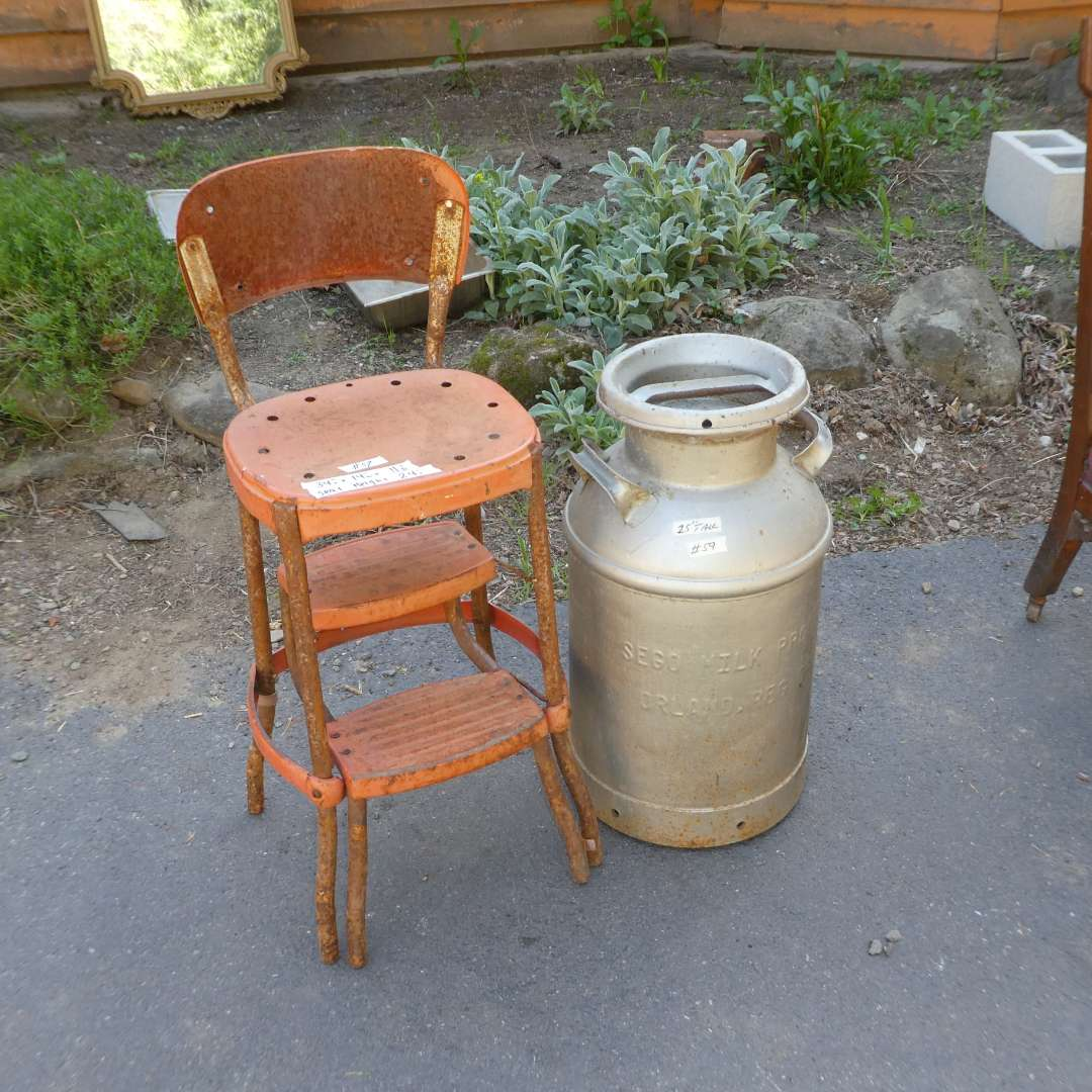 Lot # 59 - Vintage Metal Step Stool/Chair and Sego Milk Prod Co. 10 Gal Metal Can (main image)