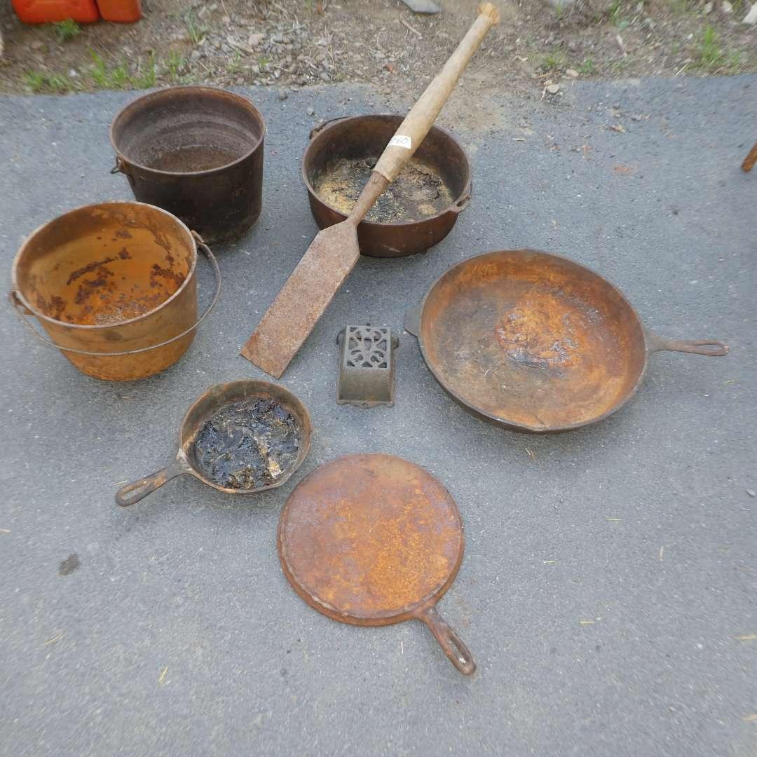 Lot # 60 - Cast Iron Lot (Pot and Pans) (main image)