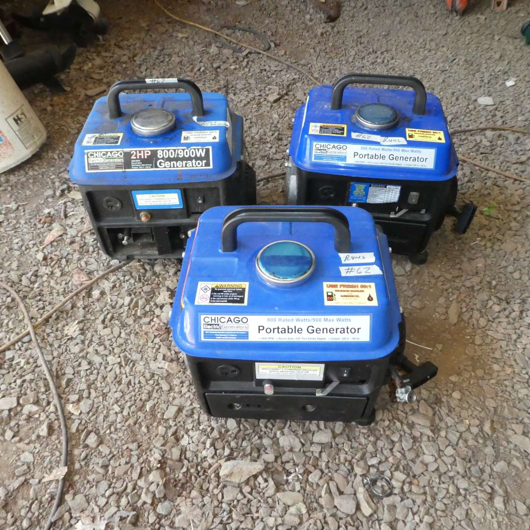 Lot # 62 - Three Chicago Electric Portable Generators (One Missing Air Filter)  (main image)