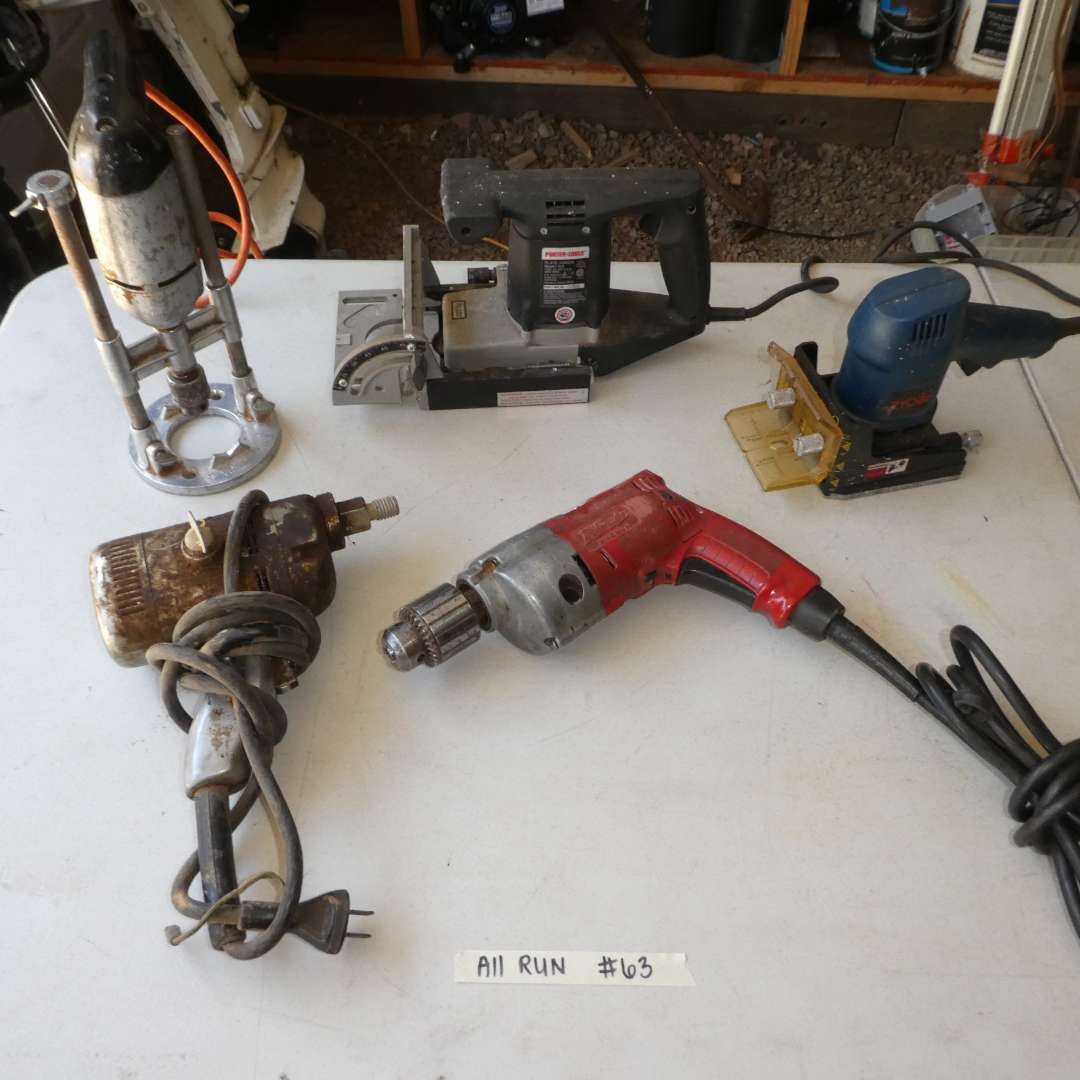 Lot # 63 - Lot of Hand Tools (Plate Joiner, Sander Polisher Drill, Drill And More) (main image)