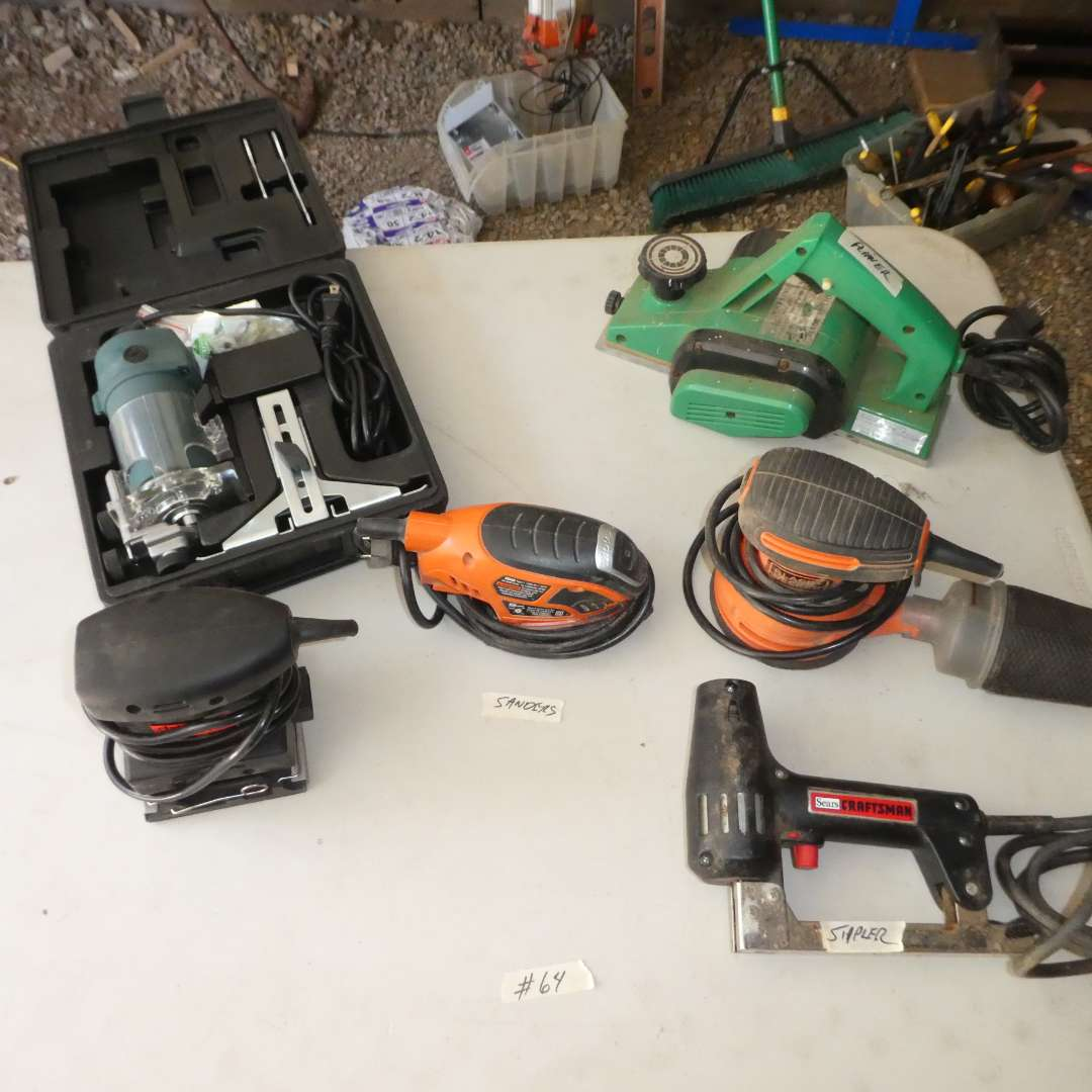 Lot # 64 - Lot of Hand Tools (Planer, Variety of Sanders, Stapler and Chicago Electric Wood Trimmer) (main image)