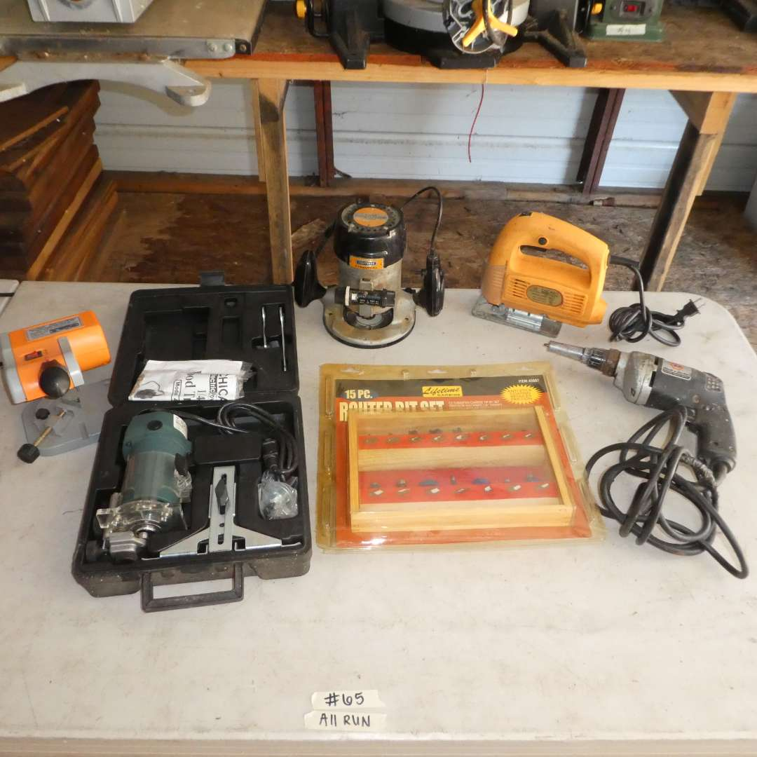 Lot # 65 -  Lot of Hand Tools (Chicago Electric Wood Trimmer, Mini Cut Off Saw, Router, Router Bits and More)  (main image)