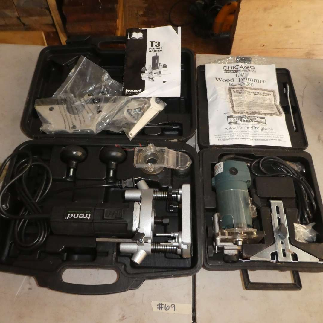 Lot # 69 - Trend T3 Plunge Router and Chicago Electric Wood Trimmer (Both Appear to be New) (main image)