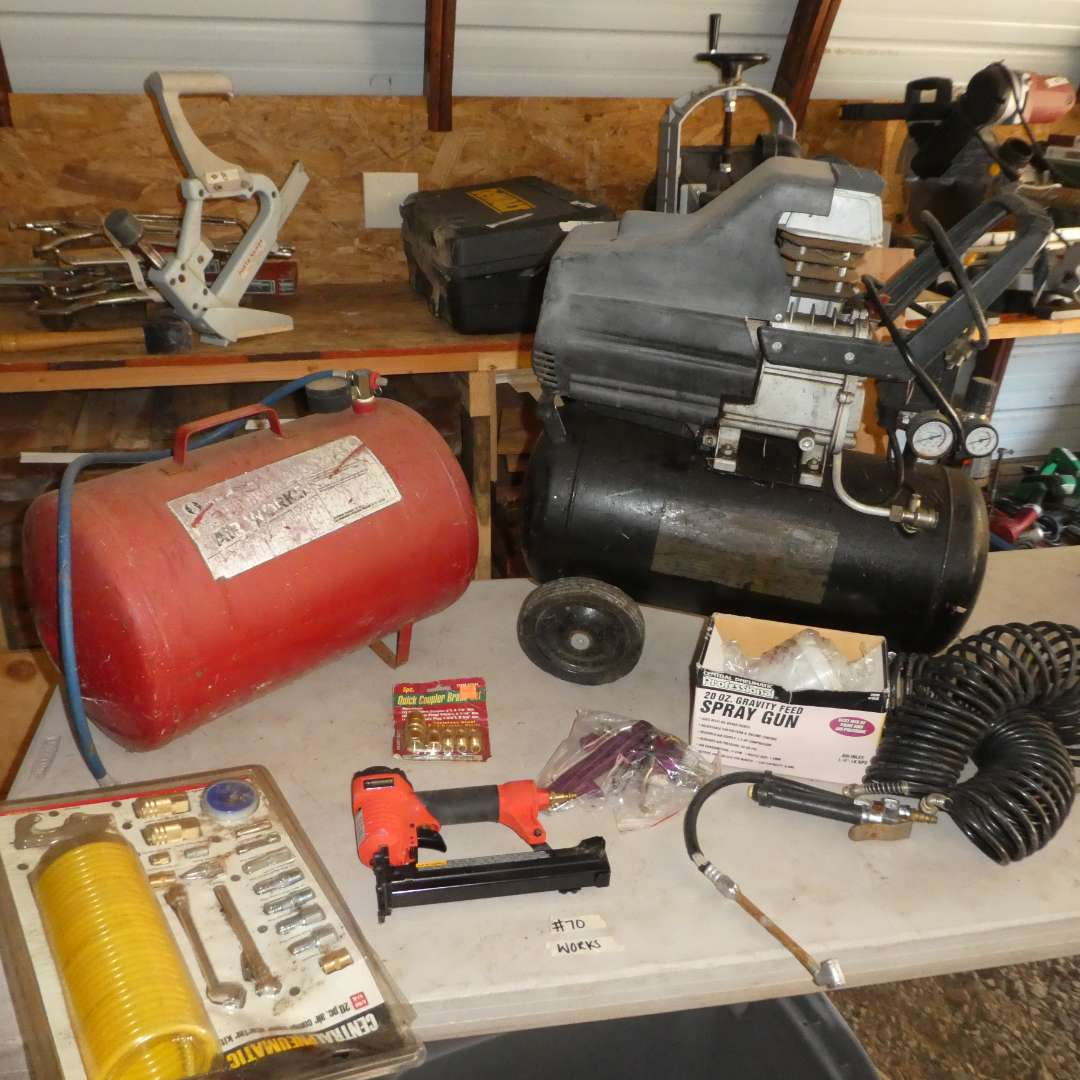 Lot # 70 - Air Compressor, Misc Attachments and Air Tank (main image)