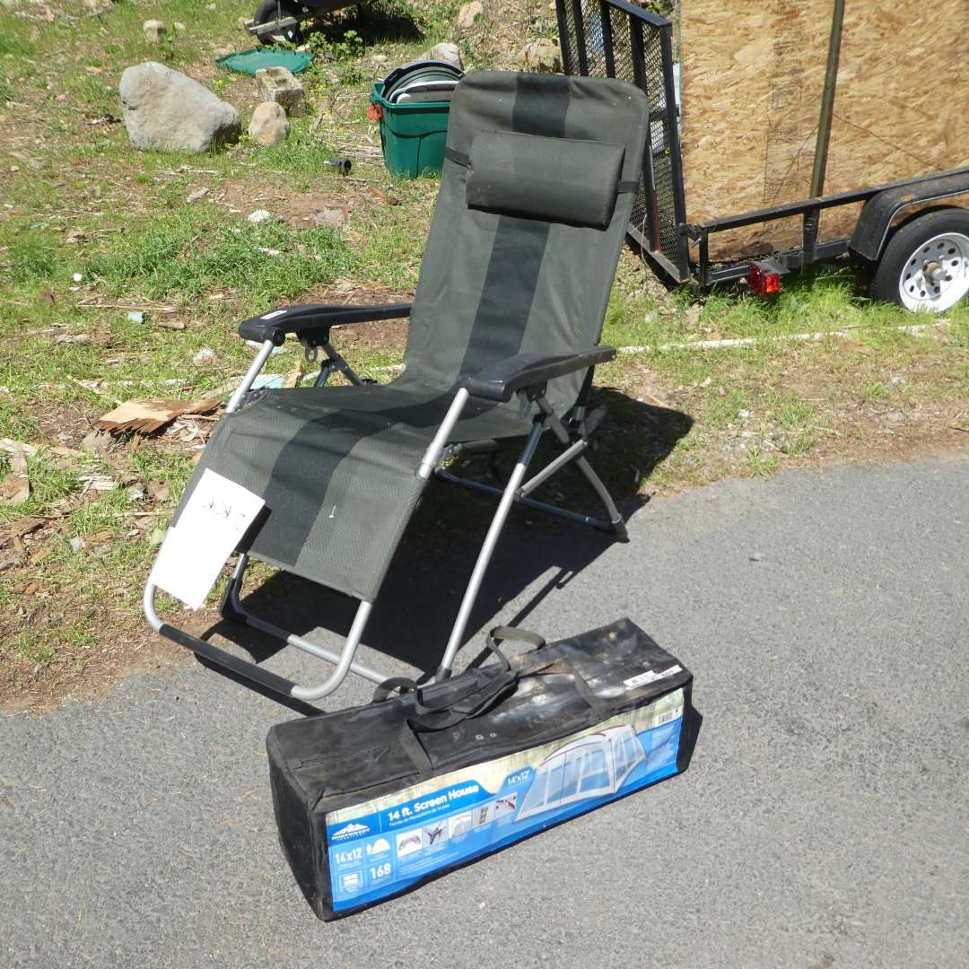Lot # 77 - Zero Gravity Lounge Patio Chair and New Outdoor 14FT Screen House (main image)