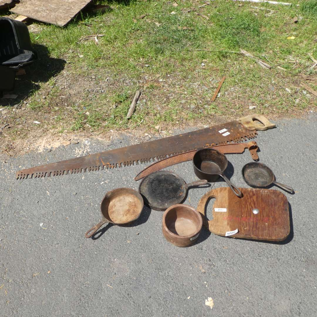 Lot # 81 - Lot of Cast Iron Pans, Large Vintage Saw and More  (main image)