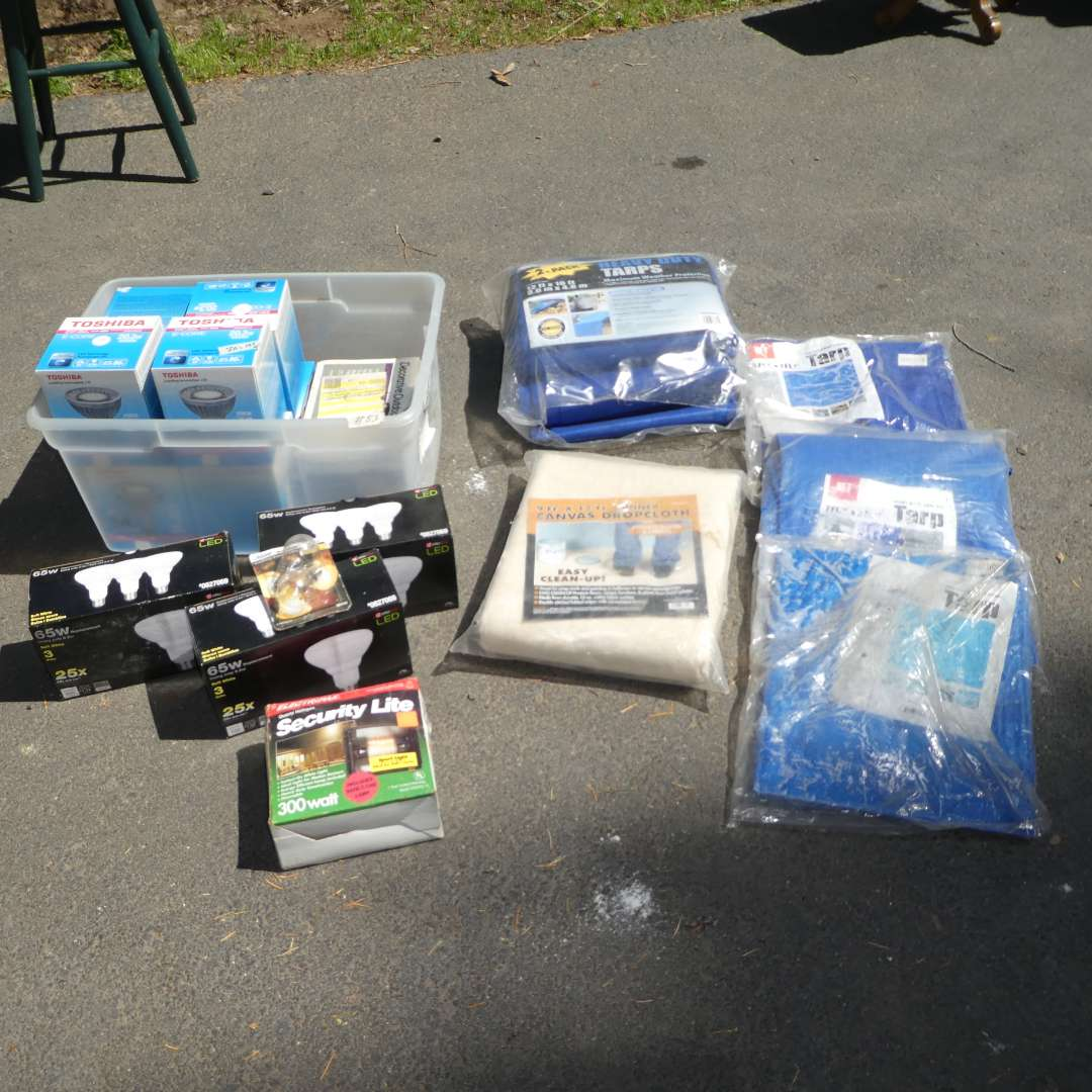 Lot # 83 - Light Bulbs and Tarps (All Still in Packaging) (main image)