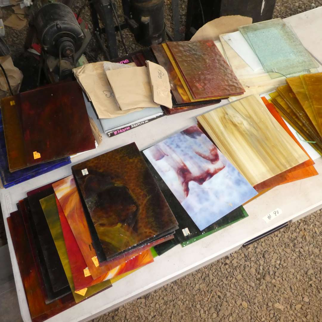 Lot # 90 -Variety of Beautiful High Quality Stained Glass (Various Colors and Sizes) (main image)