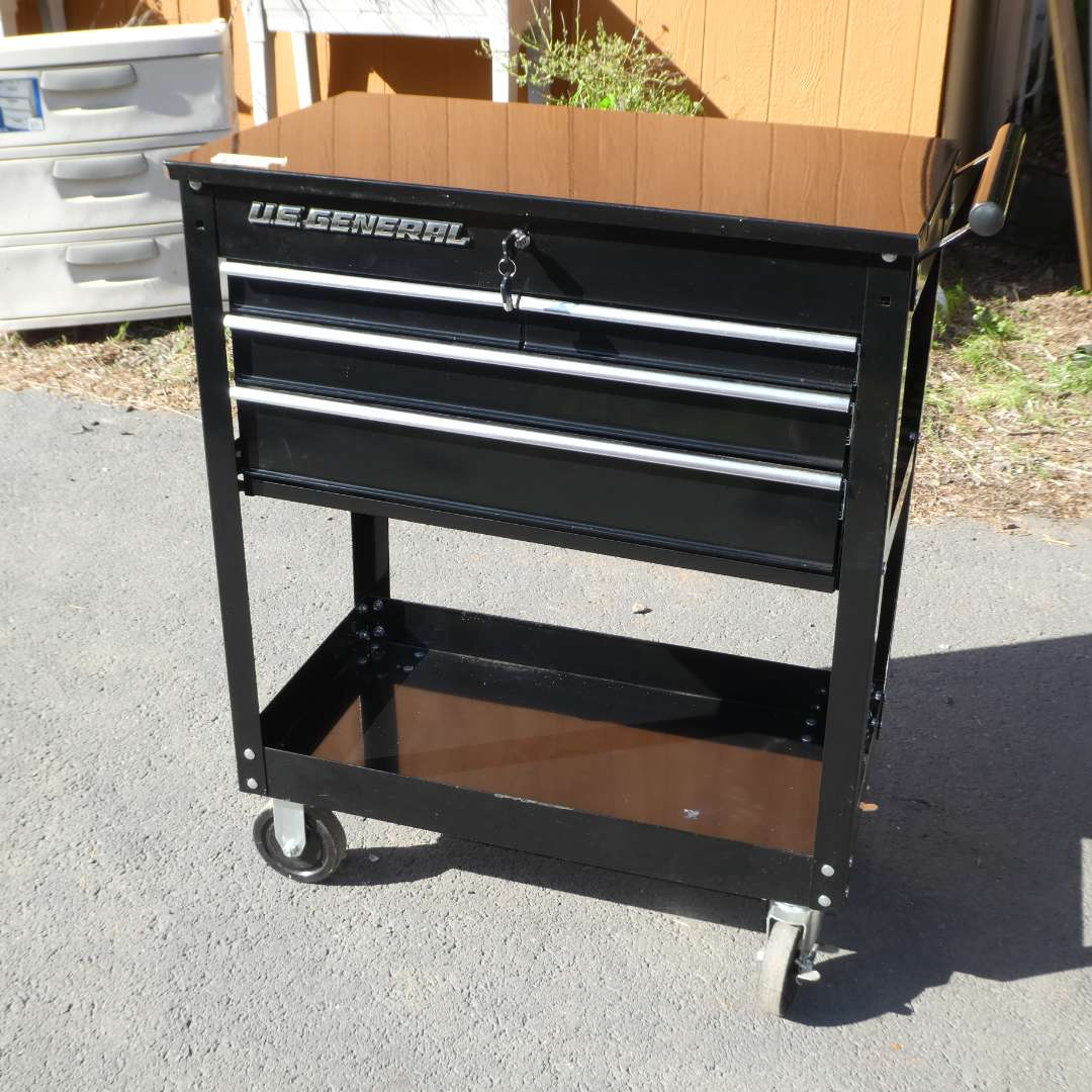 Lot # 92 - U.S. General 4 Drawer Black Roller Tool Cart (main image)