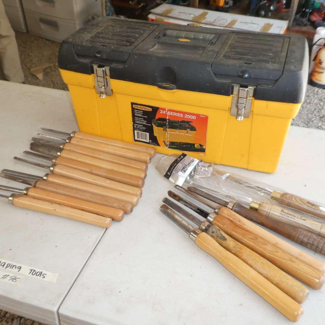 Lot # 96 - Lot of Nice Lath Shaping Tools and Tool Box  (main image)