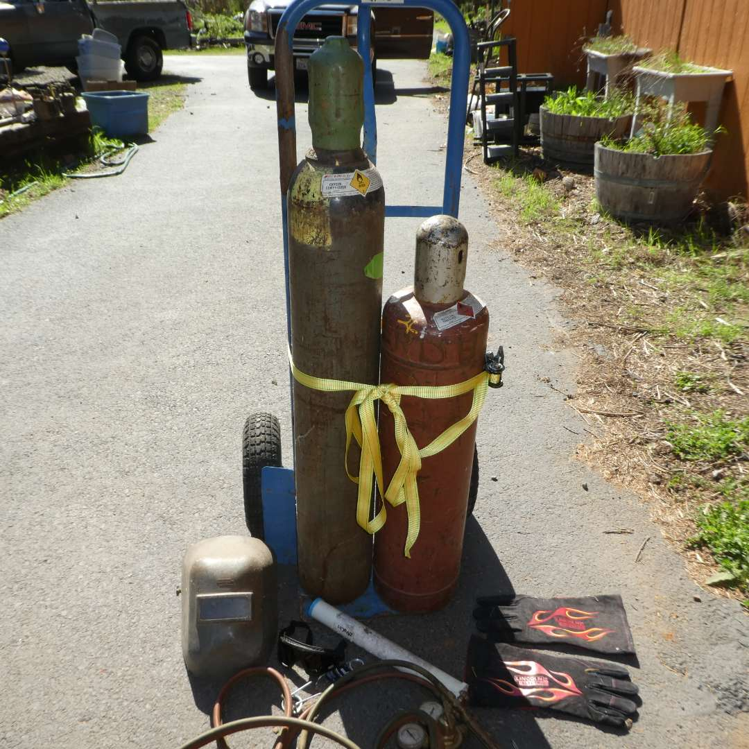 Lot # 98 - Welding Tanks, Gear and Attachments (Dolly NOT Included) (main image)