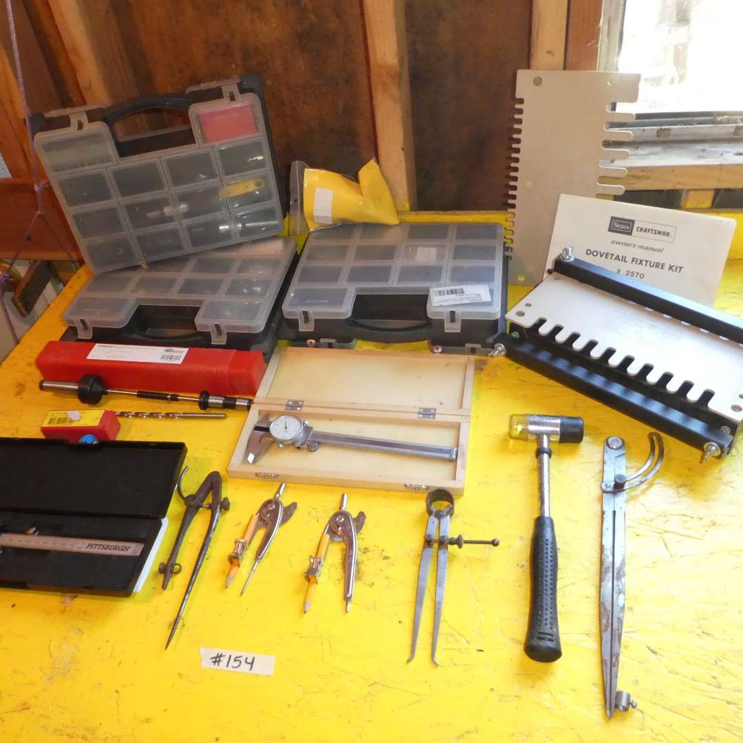 Lot # 154 - Dovetail Fixture Kit, Protractors, Calipers and Screw Organizers (main image)