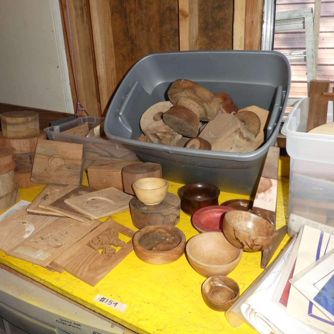 Lot # 159 -  Large Lot Of Crafting Wood (Wood Bowls, Stencils and More)  (main image)