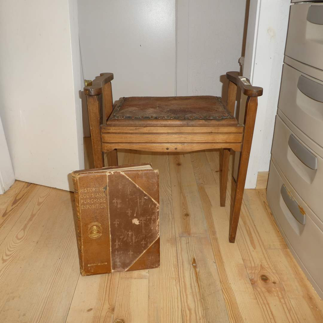 Lot # 207 - Adorable Antique Sewing Bench and Antique Book (History of The Louisiana Purchase Exposition)   (main image)