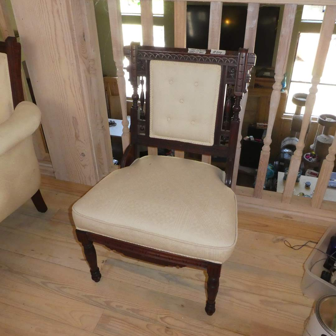 Lot # 209 -  Beautiful Vintage Chair w/ Carved Wood Details  (main image)