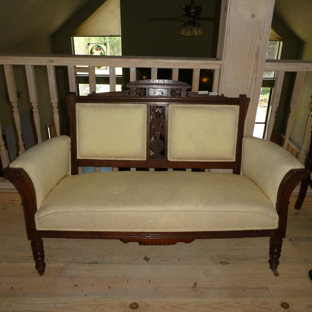 Lot # 210 - Beautiful Vintage Loveseat w/ Carved Wood Details (On Casters)(Upholstery Has Some Discoloring)(May Need Cleaning) (main image)