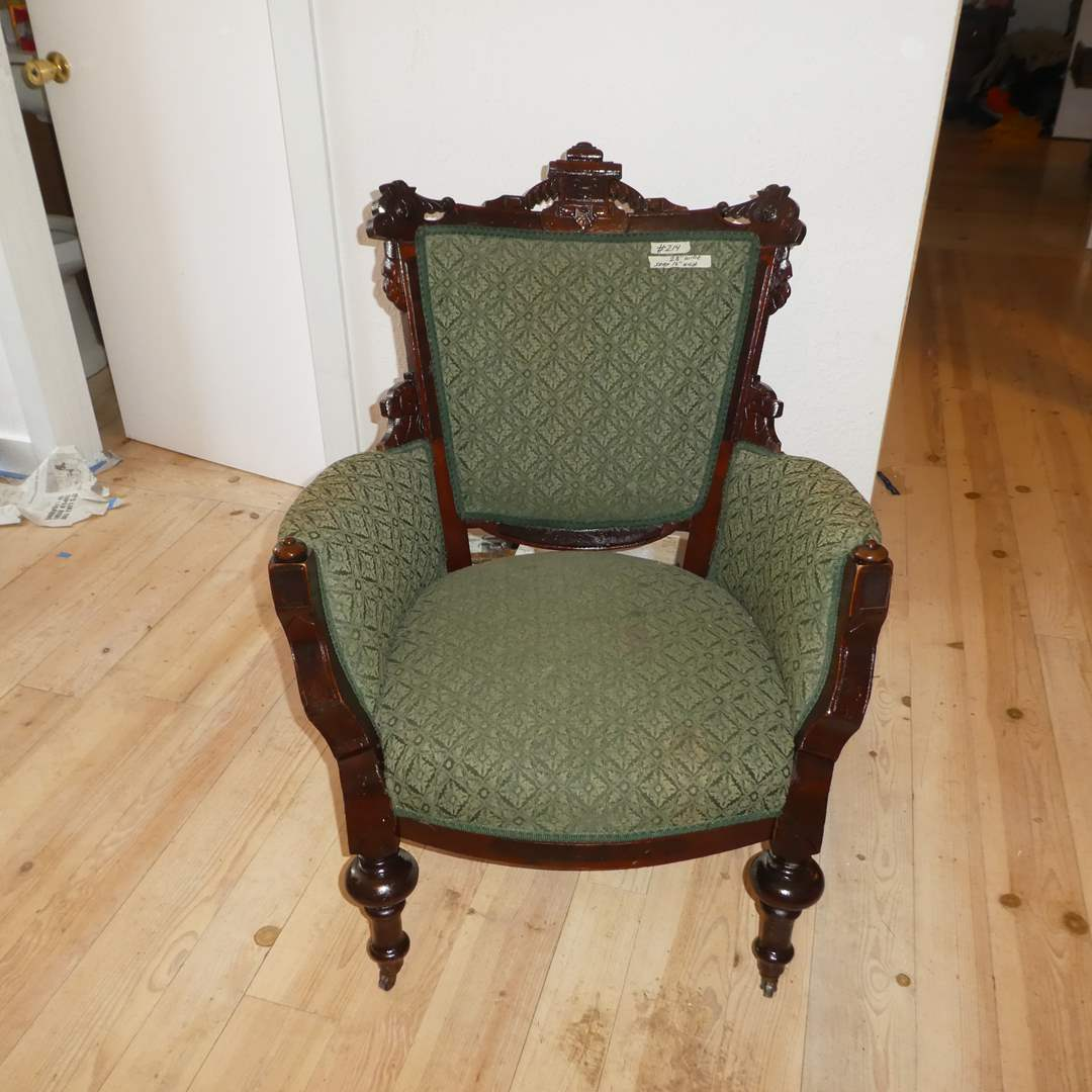 Lot # 214 - Beautiful Vintage Arm Chair w/ Carved Wood Details (Front Legs on Casters) (main image)