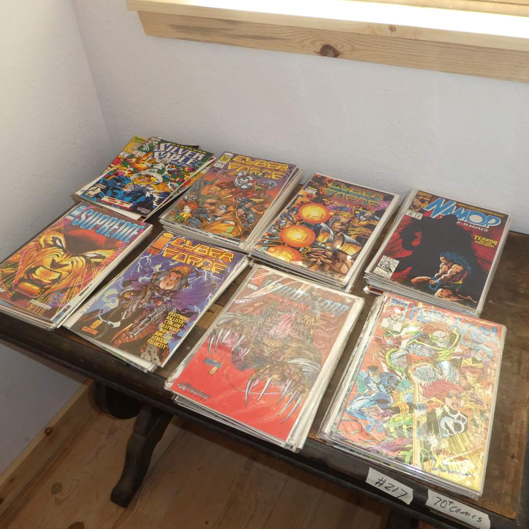 Lot # 217 - 70+ Vintage Marvel and Image Comic Books (Mostly Covered in Plastic) (main image)