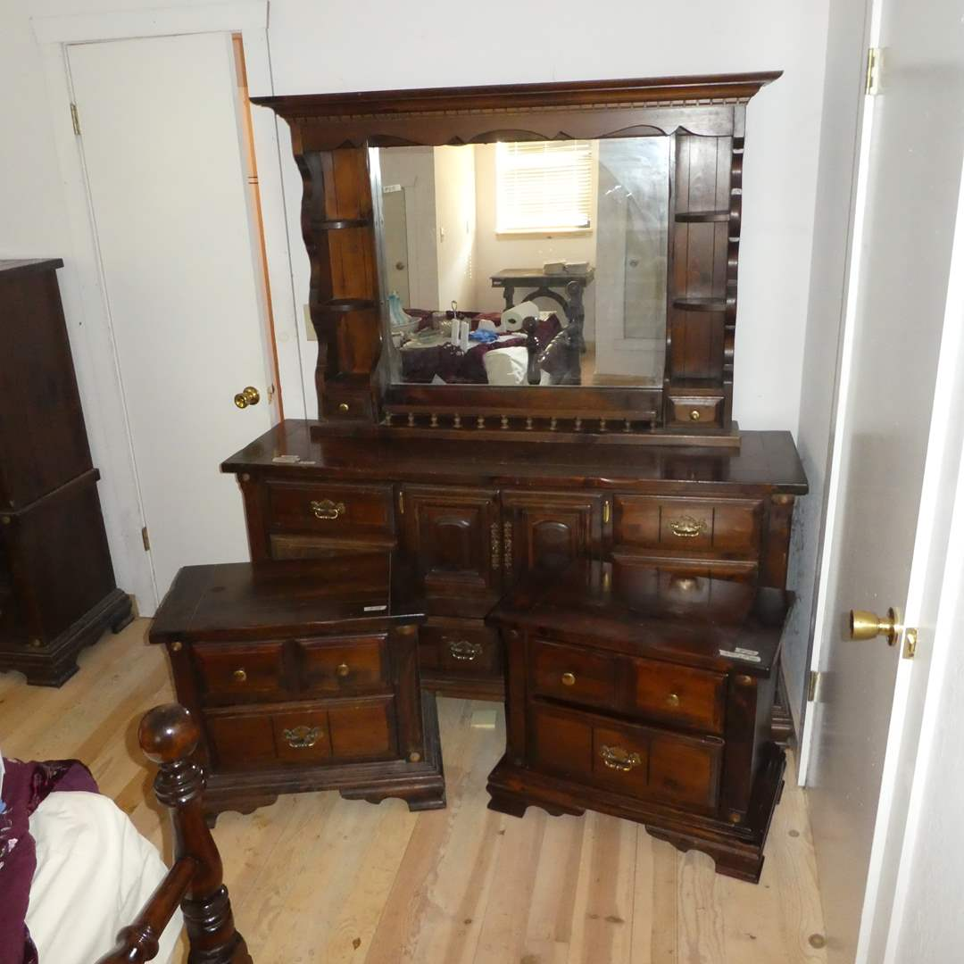 Lot # 218 -  Two Solid Wood Nightstands and 2 Piece Dresser w/ Mirror (main image)