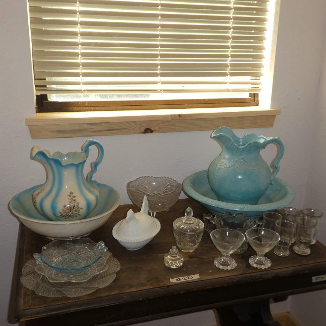 Lot # 221 -  Two Vintage Wash Basin and Pitcher Sets, Milk Glass Hen Butter Dish and Misc Clear Glass  (main image)