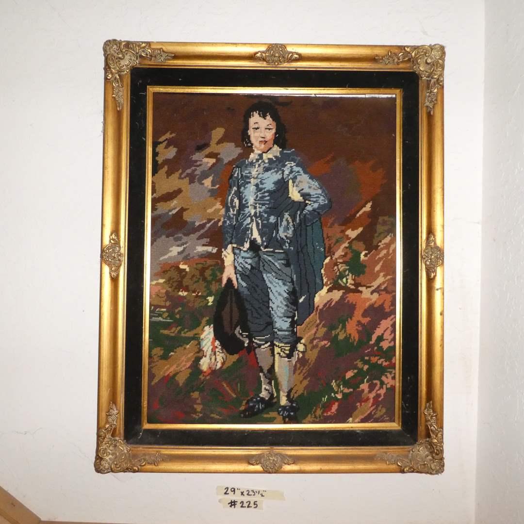 "Lot # 225 -  Adorable Framed Needle Work of "" Little Boy Blue"" (main image)"