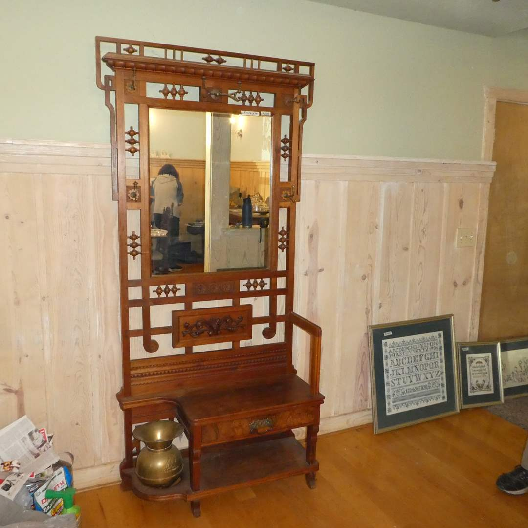 Lot # 226 - Gorgeous Antique Hall Tree (Carved Wood Details) (main image)