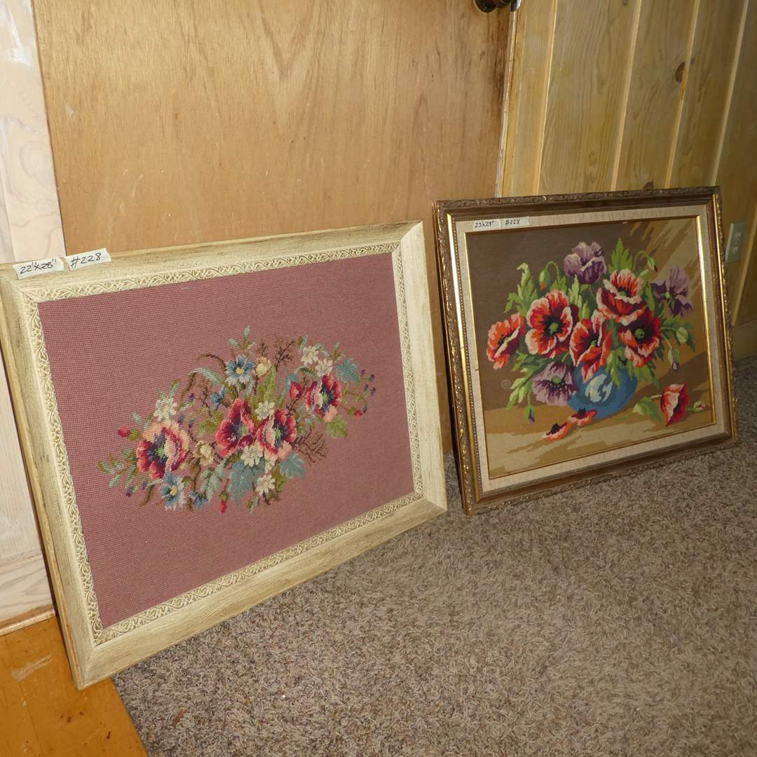 Lot # 228 - Cute Framed Needle Work (Floral) (main image)