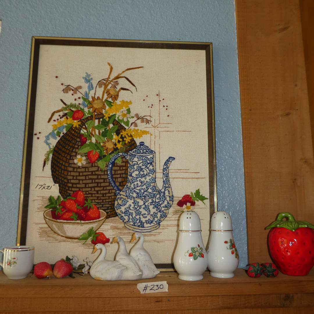 Lot # 230 - Strawberry Lot - Salt & Pepper Shaker, Needle Work, Decor and Oil Lamp (See all Photos) (main image)