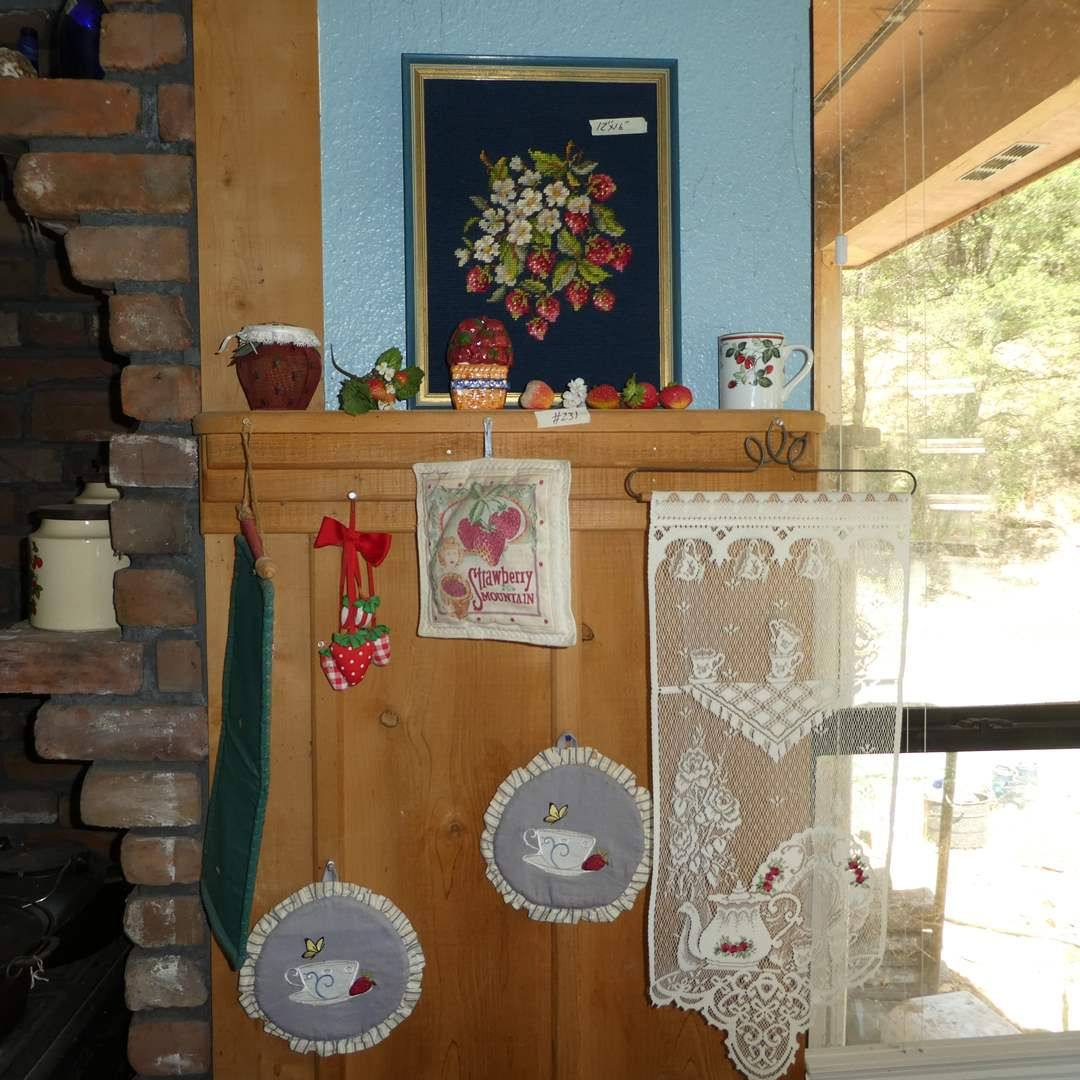 Lot # 231 - Strawberry Lot- Needle Work, Canaster, Tea Cup, Pot Holders and More ( See all Photos) (main image)