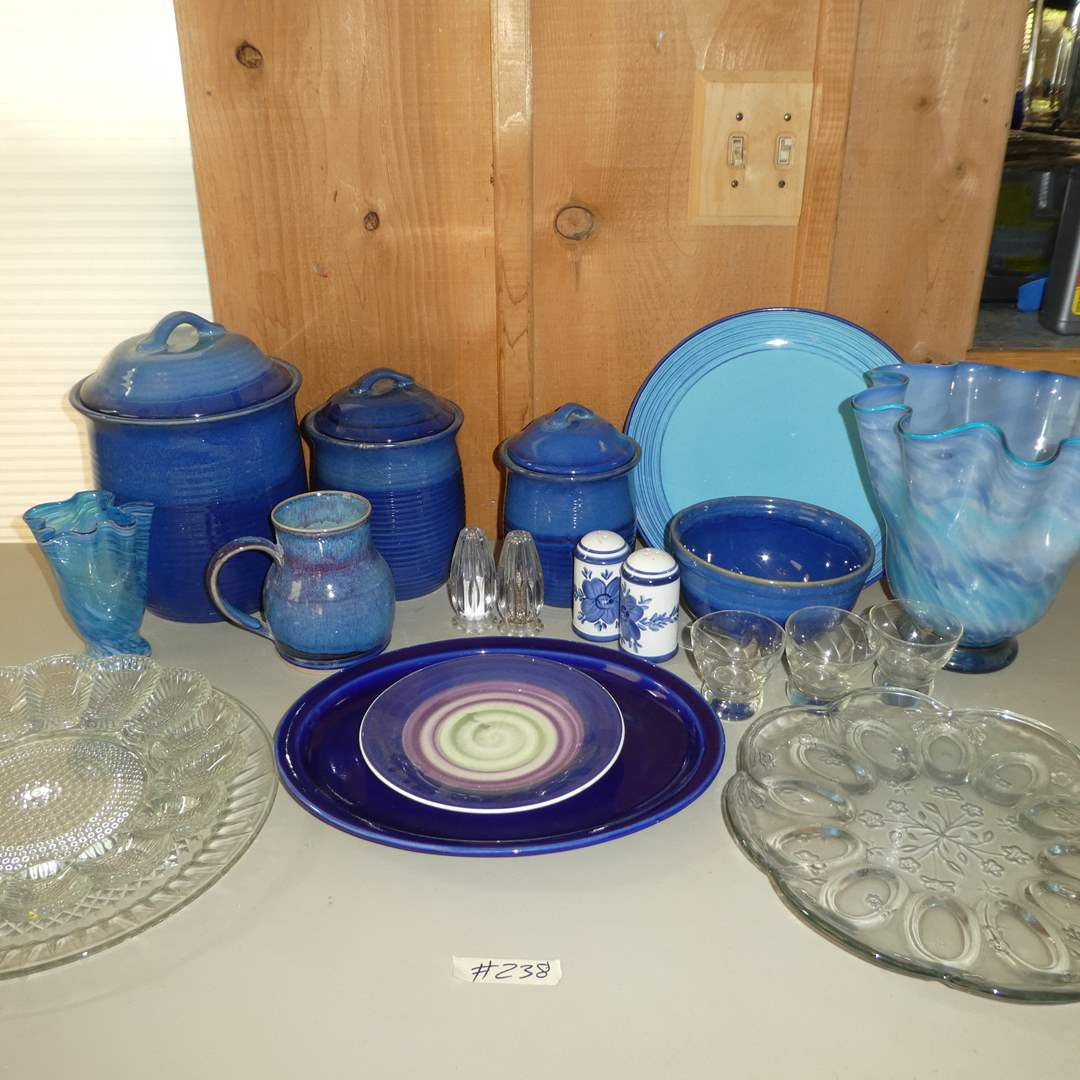 Lot # 238 - Blue Stoneware, Clear Glass Deviled Egg Dishes S&P Shakers and More (main image)