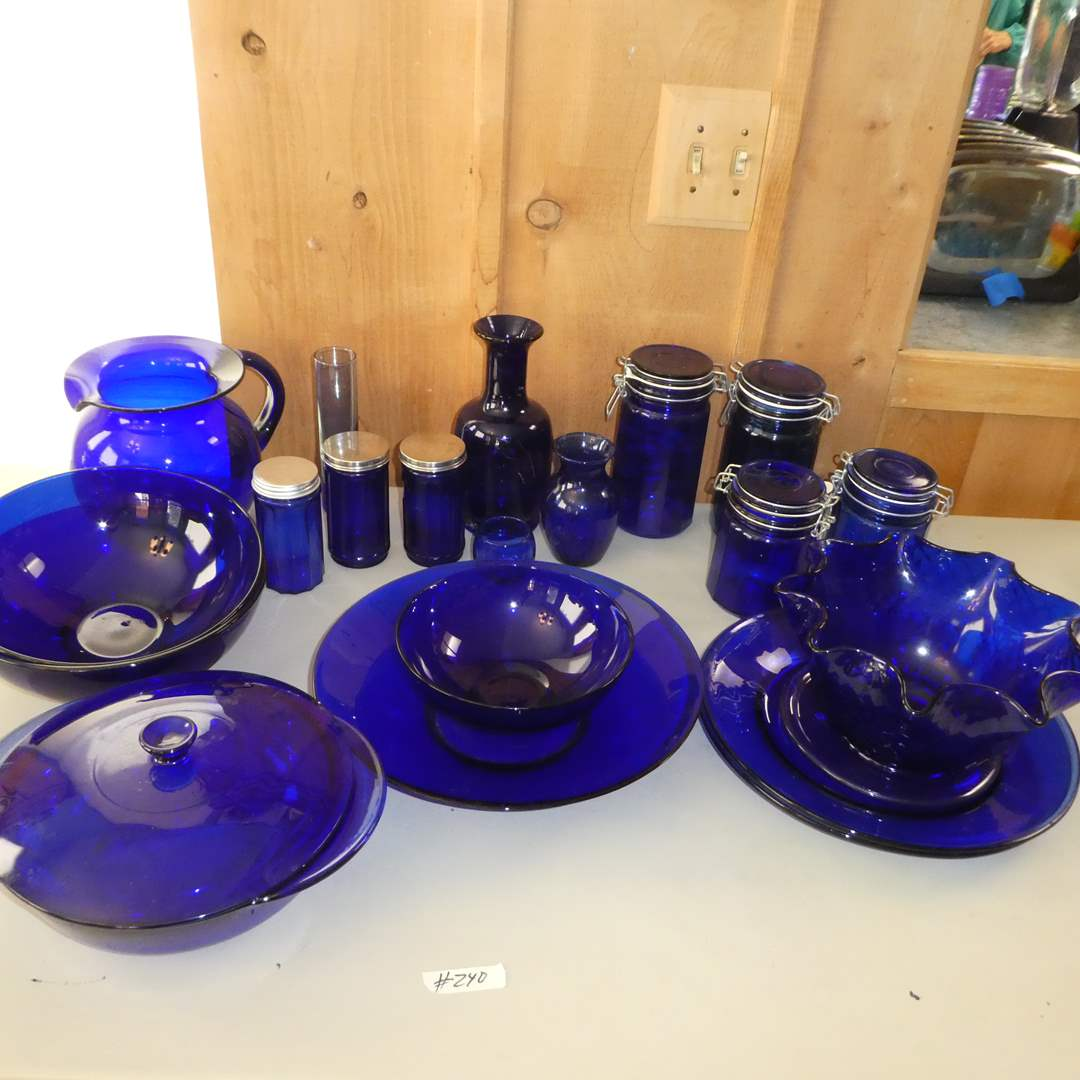 Lot # 240 - Cobalt Blue Glass Collection - Plates, Blows, Drink Pitcher, Canisters and More (main image)
