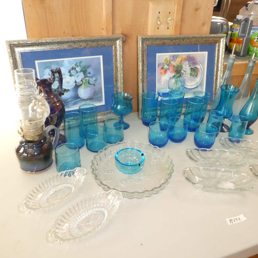 Lot # 242 - Variety of Light Blue Glass, Framed Art, Banana Split Dishes and Stoneware Oil Lamp (main image)
