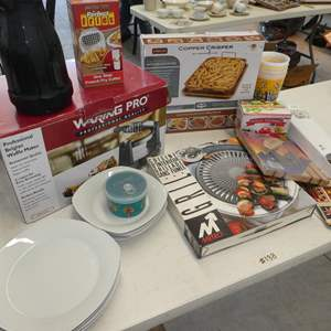 Auction Thumbnail for: Lot # 138 - New Belgium Waffle Maker, Silicon Egg Cookers, Copper Crisper, Plates,Bowls and More