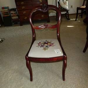 Lot # 103 - Antique Rose Carved Balloon Back Chair w/Needlepoint Seat