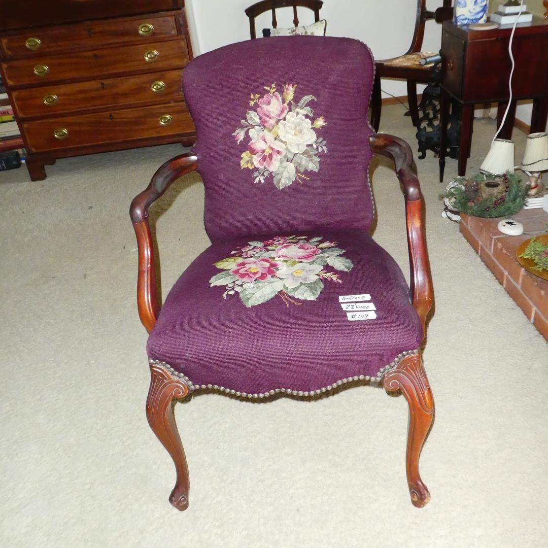Lot # 104 - Antique Carved Wood Needlepoint Parlor Chair  (main image)