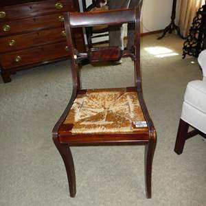 Lot # 107 - Vintage Tell City Mahogany Finish Rush Seat Accent Chair