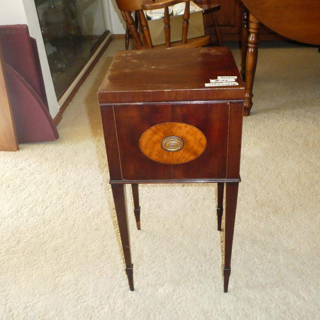 Lot # 108 - Small Antique Wooden Accent Table w/Drawer (main image)