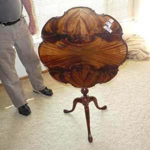Lot # 110 - Antique Tilt Top Flip Tripod Tea Table