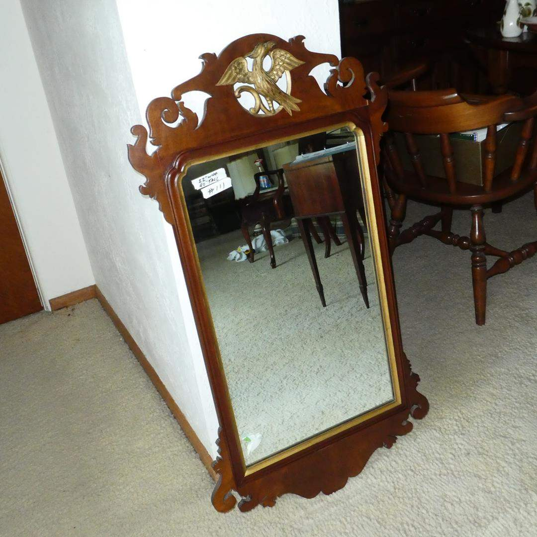 Lot # 111 - Antique Chippendale Mirror in Mahogany with Gilt Eagle (main image)