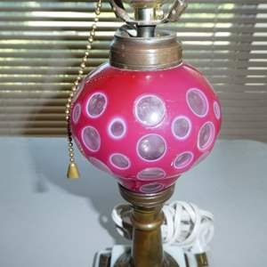 Lot # 115 - Vintage Cranberry Cut To Clear Dresser Lamp w/Marble & Brass Base